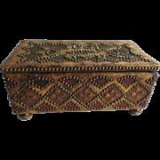 Vintage Folk Art Brass Studded Box on Brass Ball Feet