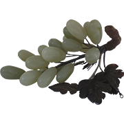 Vintage Jade Soapstone Grapes with Leaves