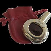 Rare Vintage 1980's Hermes Parfum d'Hermes 1/4 oz Refillable Gold Case Red Leather Drawstring