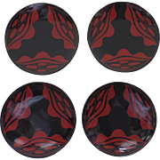 Vintage Japanese Japan Lacquered Shallow Bowl Plates in Original Box Strong Graphic Motif