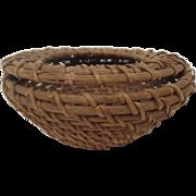 Vintage Pomo California Small Gathering Basket Feather