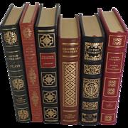 Six (6) Vintage Leather Gilt Tooled Books Franklin Library Chekhov Cervantes Chaucer