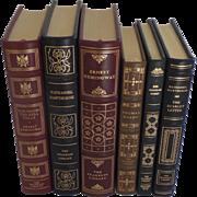 six (6) Vintage Leather Gilt Tooled Books Franklin Library Hemingway, Hawthorne, Hardy, Harris