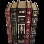 Five (5) Vintage Leather Gilt Tooled Books Franklin Library 1980's Kipling Hesse Joyce Hersey