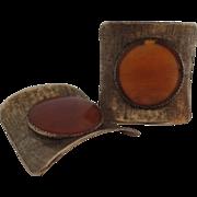 "Vintage 80's Shoe Clips Amber Brushed Gold ""MUSI"""