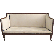 English Mahogany Late Regency Settee Reeded Turned and Fluted Legs