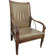 SALE PENDING French Restoration Period Walnut Leather Upholstered Reclining Armchair