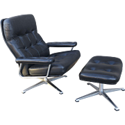Johannson Designs Leather Lounge Chair and Ottoman
