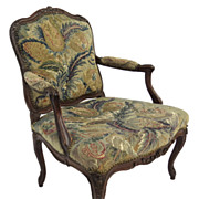 Louis XV Carved Walnut Mid 18th Century Tapestry Chair Fauteuil