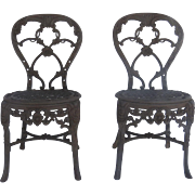 Pair of English Cast Iron Garden Chairs by Phoenix Foundry Derby