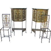 Pair of Tall Cabinets and Chairs Iron Bronze Filigree