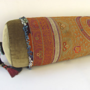 Vintage Tribal Fabric Beads Bolster Pillow by Ann Lawrence