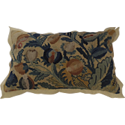 19th Century Needlepoint Pillow in Blue and Yellows