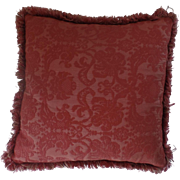 Vintage Red Jacquard Fabric Red Trim Throw Pillow Cushion