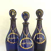 Set of Three Decanters Cobolt. Rum, Hollands, Brandy.