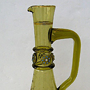 Bohemian Glass Carafe with Enamel Dolphin Decoration
