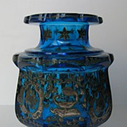 Turquoise Glass Vase with Scalloped Top and Shaped Base