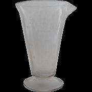 Vintage Etched Glass Beaker Pour Spout 30's 40's Apothecary