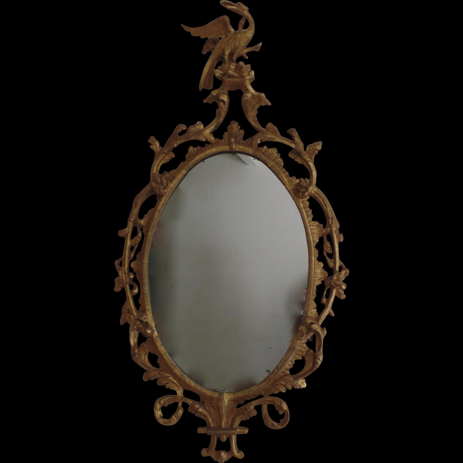 English Georgian Gilt Oval Mirror 19th Century