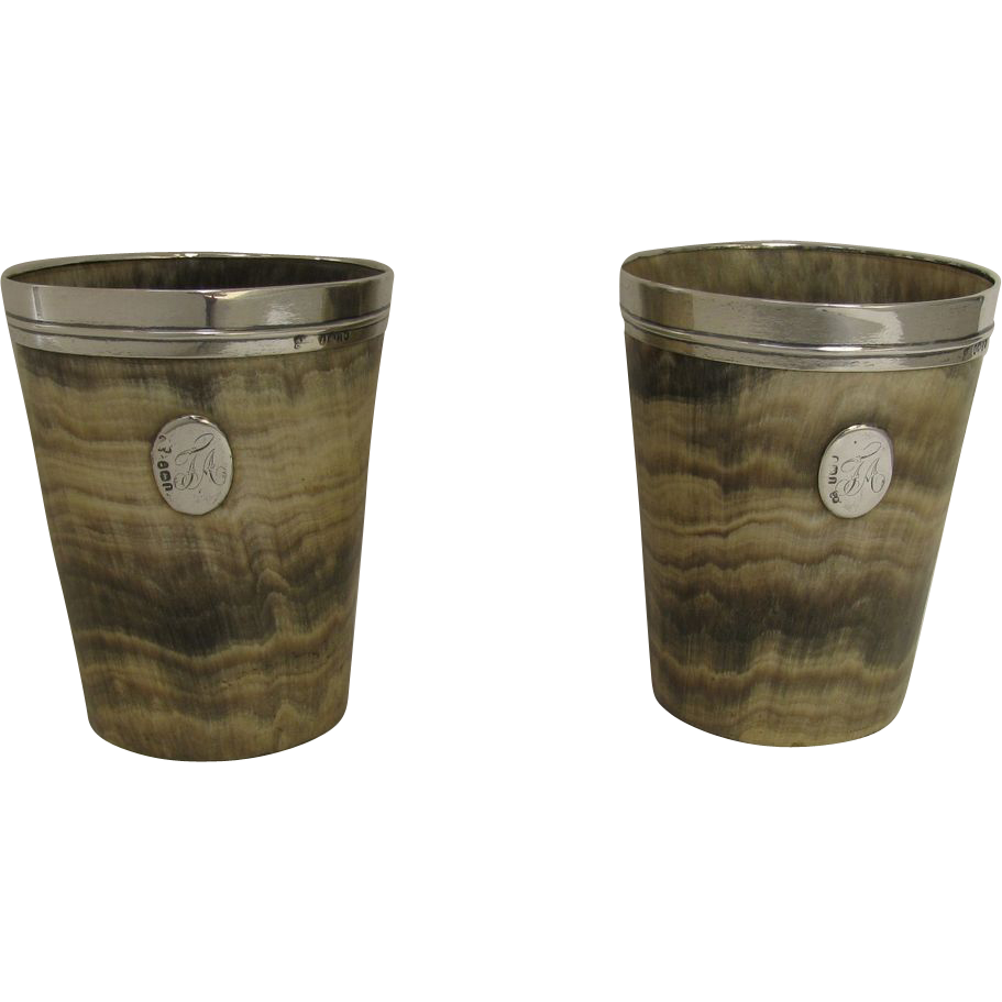 Pair of Turned Horn Cups with Sterling Silver Lip and Oval Cartouche