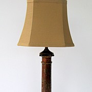 English Red Tole Lamp