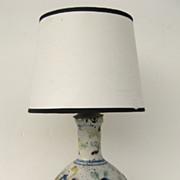 Italian Faience Vase Now as Lamp