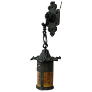 Bronze Art Nouveau Hanging Wall Lantern