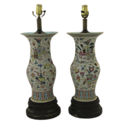 Pair of 19th C Chinese Famille Rose Vases now as Lamps