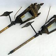 Pair of Italian Tin Gilt Gondola Lanterns.