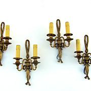 Set of 4 French Louis XVI Style Gilt Sconces