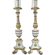 Pair of 19th Century Painted and Gilt Candlesticks Now as Lamps