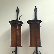 Pair of Vintage Spanish Mediterranean Amber Glass Iron Sconces
