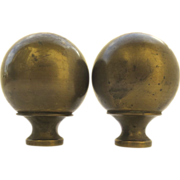 Pair of Vintage Ball Brass Bed Finials