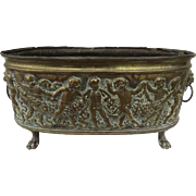 French Oval Jardiniere Planter Repousse Putti Angels Cherubs Lion Head Handles Paw Feet