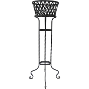 Vintage Iron Tall Planter Basket Shaped  and Lattice Motif