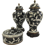 Vintage China Chinese Pair Cloisonne Vases and Lidded Dish Black White