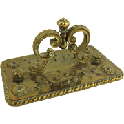 Large Repousse Brass Ink Blotter with Cast Handle Crown Finial