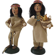 Pair of Girl Boy Brave Squaw Thanksgiving Native American Byers Choice 1998 Carolers