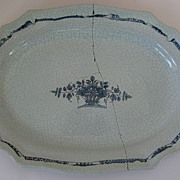 French Rouen Blue and White Platter