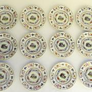 Set of 12 Vintage Rosenthal Dinner Plates Gilt Floral Romantic Scene