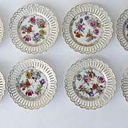 """Set of 8 Pierced Dresden Flower Plates 8 1/4"""""""