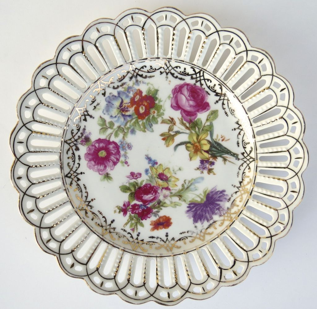 "Set of 2 Dresden Bararia Pierced 8 1/4"" Plates c 1950"