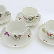 Set of 4 Meissen Tea Cups and Saucers