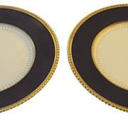 Two Cobalt Gilt Dinner Plates Soho Pottery Ambassador Ware England
