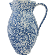 """Vintage Huge 14"""" Tall Blue and White Spongeware Country Primitive Pitcher Made in Italy f"""