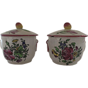 2 x Vintage French France Pot de Creme Faience Pots with Lids Fruit Finials Luneville