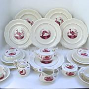 12 x Spode Black Bird Fushia Tea Pot, Sugar, Covered Dishes 34 Pieces