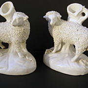 Pair of English Staffordshire White Spill Vases Sheep