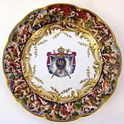 "Set of Three (3) Capodimonte Bas-Relief Plates 10"""