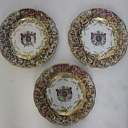 "Set of Three (3) Capodimonte Bas-Relief Plates 8 3/4"""